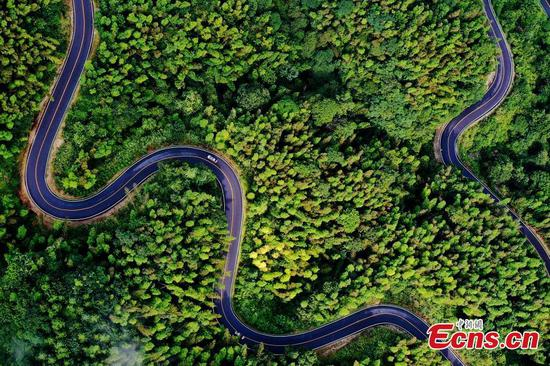 Drone photo reveals stunning beauty of mountain road