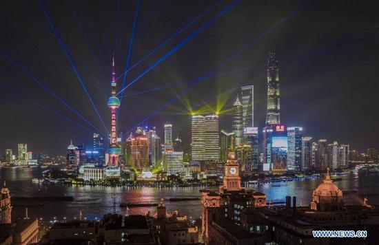 Light show seen at Lujiazui area in China's Shanghai