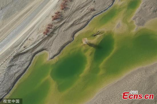 Aerial view of national wetland park in China's Xinjiang