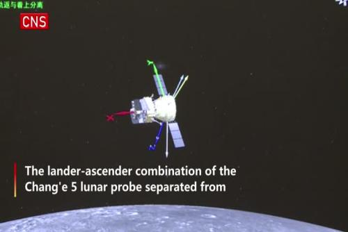 Chang'e-5 lunar probe prepares to land on moon
