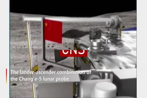 Chang'e-5 lunar probe erects Chinese national flag on moon